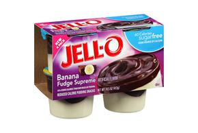 Jell-O Pudding Ready To Eat  Banana Fudge Sundae Sugar Free 4 Pack Cups