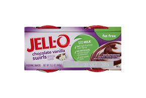 Jell-O Pudding Ready To Eat Chocolate Vanilla Swirl Fat Free 4 Ct Cups