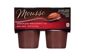 Jell-O Mousse Temptations Pudding Ready To Eat  Chocolate Indulgence Sugar Free 4 Ct Cups