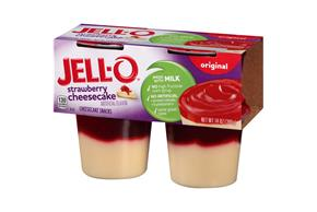 Jell-O Pudding Ready To Eat Strawberry Cheesecake Sugar Sweetened 4 Ct Cups