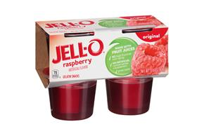 Jell-O Gelatin Ready To Eat Raspberry Sugar Sweetened 4 Ct Cups