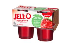 Jell-O Gelatin Ready To Eat Strawberry Sugar Sweetened 4 Ct Cups