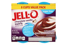 Jell-O Pudding Ready To Eat  Chocolate/Vanilla Swirls Sugar Free 8 Ct Cups