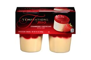 Jell-O Temptations Pudding Ready To Eat Strawberry Cheesecake 4 Ct Cups