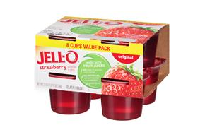 Jell-O Gelatin Ready To Eat Sugar Sweetened Strawberry 8 Ct Cups