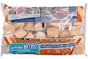 Jet-Puffed Mallow Bites Caramel & Vanilla Swirled Flavored Marshmallows 8Oz Bag