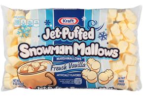 Jet-Puffed Snowman Mallows French Vanilla Seasonal Marshmallows 8Oz Bag