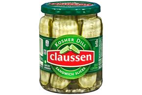 CLAUSSEN Kosher Dill Sandwich Slices Pickles 20 oz. Jar
