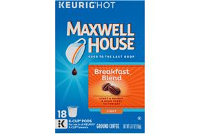 Maxwell House Breakfast Blend Coffee K-Cup(R) Packs 18 ct Box