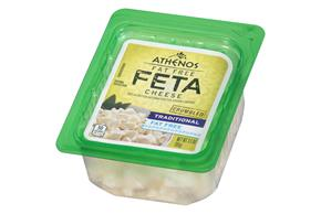 Athenos Crumbled Traditional Fat Free Feta Cheese 3.5 Oz. Tub