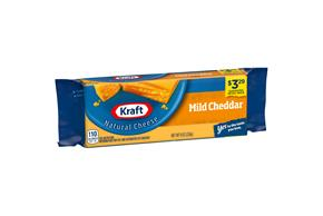 Kraft Mild Cheddar Natural Cheese Block  8 Oz  Vacuum Packed
