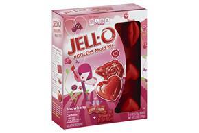 Jell-O Jigglers Mold Kit Valentine Strawberry  Sugar Sweetened 12 Oz Box