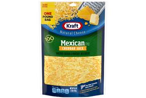 Kraft Mexican Style Cheddar Jack Finely Shredded Natural Cheese  16Oz Bag