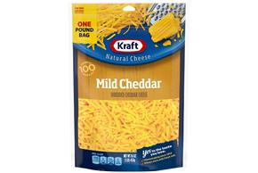 Kraft Mild Cheddar Shredded Natural Cheese 16 Oz Bag