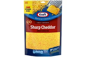 Kraft Sharp Cheddar Finely Shredded Natural Cheese  16Oz Bag