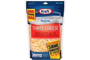 Kraft Three Cheese With A Touch Of Philadelphia Shredded Natural Cheese  16Oz Bag