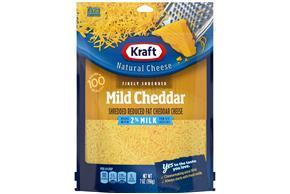 Kraft 2% Mild Cheddar Finely Shredded Reduced Fat Cheese 7Oz Bag