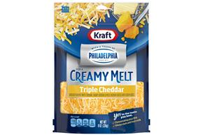Kraft Triple Cheddar Cheese With A Touch Of Philadelphia Shredded Natural Cheese  8Oz Bag