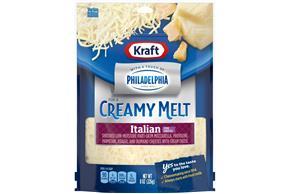 Kraft Italian Five Cheese Blend With Philadelphia Cream Cheese Shredded Cheese 8 Oz Bag