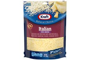Kraft Italian Five Cheese Blend Shredded Natural Cheese 8 Oz Bag
