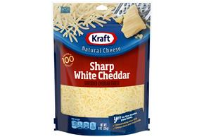 Kraft Sharp White Cheddar Shredded Natural Cheese  8Oz Bag