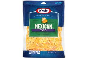 Kraft Mexican Style Taco Finely Shredded Natural Cheese  8Oz Bag