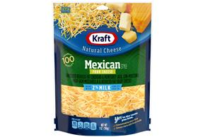 Kraft 2% Milk Reduced Fat Mexican Style Four Cheese Blend Shredded Natural Cheese 7 Oz Bag
