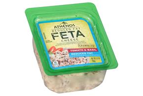 Athenos Crumbled Tomato & Basil Reduced Fat Feta Cheese 3.5 Oz. Tub