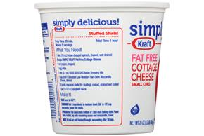 Simply Kraft Small Curd Fat Free Cottage Cheese 24 Oz. Tub