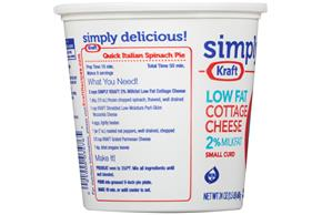 Simply Kraft Small Curd 2% Milkfat Low Fat Cottage Cheese 24 Oz. Tub