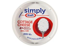 Simply Kraft Small Curd 4% Milkfat Minimum Cottage Cheese 24 Oz. Tub