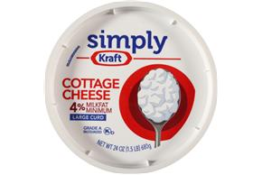 Simply Kraft Large Curd 4% Milkfat Minimum Cottage Cheese 24 Oz. Tub