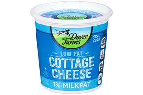 Dover Farms Small Curd 1% Milkfat Low Fat Cottage Cheese 24 Oz. Tub