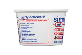 Simply Kraft Large Curd 4% Milkfat Minimum Cottage Cheese 16 Oz. Tub