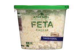 Athenos Feta Crumbled Traditional Cheese 12 Oz Plastic Tub