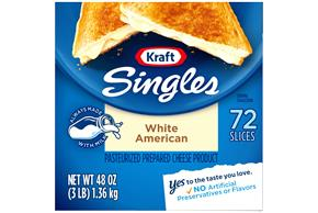 Kraft Singles White American 72 Ct Cheese Slices 48 Oz Box