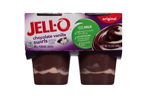 Jell-O Pudding Ready To Eat Chocolate Vanilla Swirl 4 Ct Cups