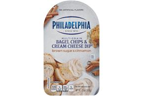 Philadelphia Brown Sugar And Cinnamon Bagel Chips & Cream Cheese Dip Cheese Snacks 2.5 Oz Tray