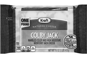 Kraft Colby & Monterey Jack Natural Cheese Block 16 Oz  Vacuum Packed
