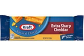 Kraft Extra Sharp Cheddar Natural Cheese Block 8 Oz Vacuum Packed