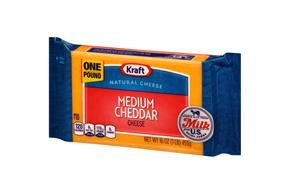 Kraft Medium Cheddar Natural Cheese Block 16 Oz  Vacuum Packed
