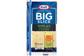 Kraft Big Slice Pepper Jack Natural Cheese Slices  8 Oz Film Wrapped (10 Slices)