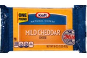 Kraft Mild Cheddar Natural Cheese Block  16 Oz  Vacuum Packed