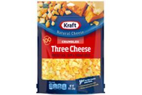 Kraft Three Cheese Natural Cheese Crumbles  8Oz Bag