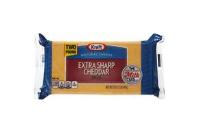 Kraft Extra Sharp Cheddar Natural Cheese Block 2 Lb Vacuum Packed