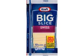Kraft Big Slice Swiss Natural Cheese Slices  8 Oz Film Wrapped (10 Slices)