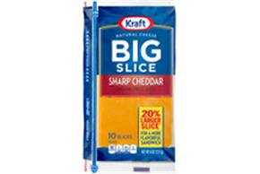 Kraft Big Slice Sharp Cheddar Natural Cheese Slices  8 Oz Film Wrapped (10 Slices)