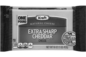 Kraft Extra Sharp Cheddar Natural Cheese Block 16 Oz Vacuum Packed