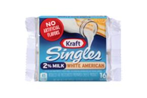 Kraft Singles 2% Milk White American Cheese Slices 10.7 Oz Wrapped (16 Slices)