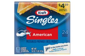 Kraft Singles American Cheese Slices 16 Oz Wrapped (24 Slices)